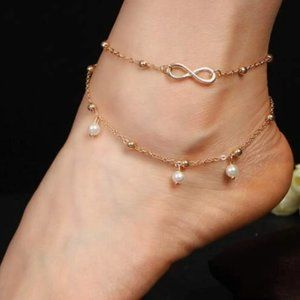 💫BoHo Faux Pearl Layered Anklet💫